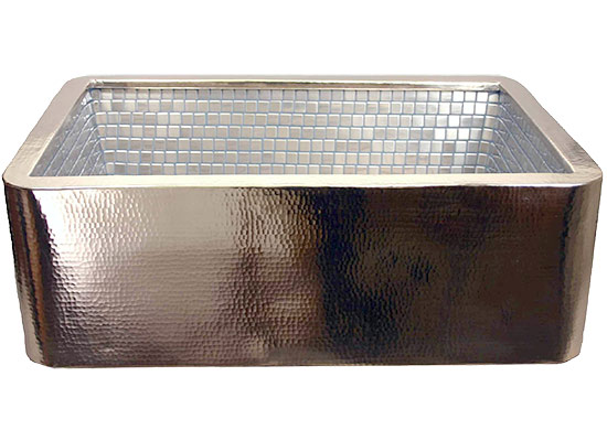 Linkasink Farmhouse Sinks - V030 Stainless Steel Mosaic Tile Apron Front Kitchen Nickel Plated Copper Sink