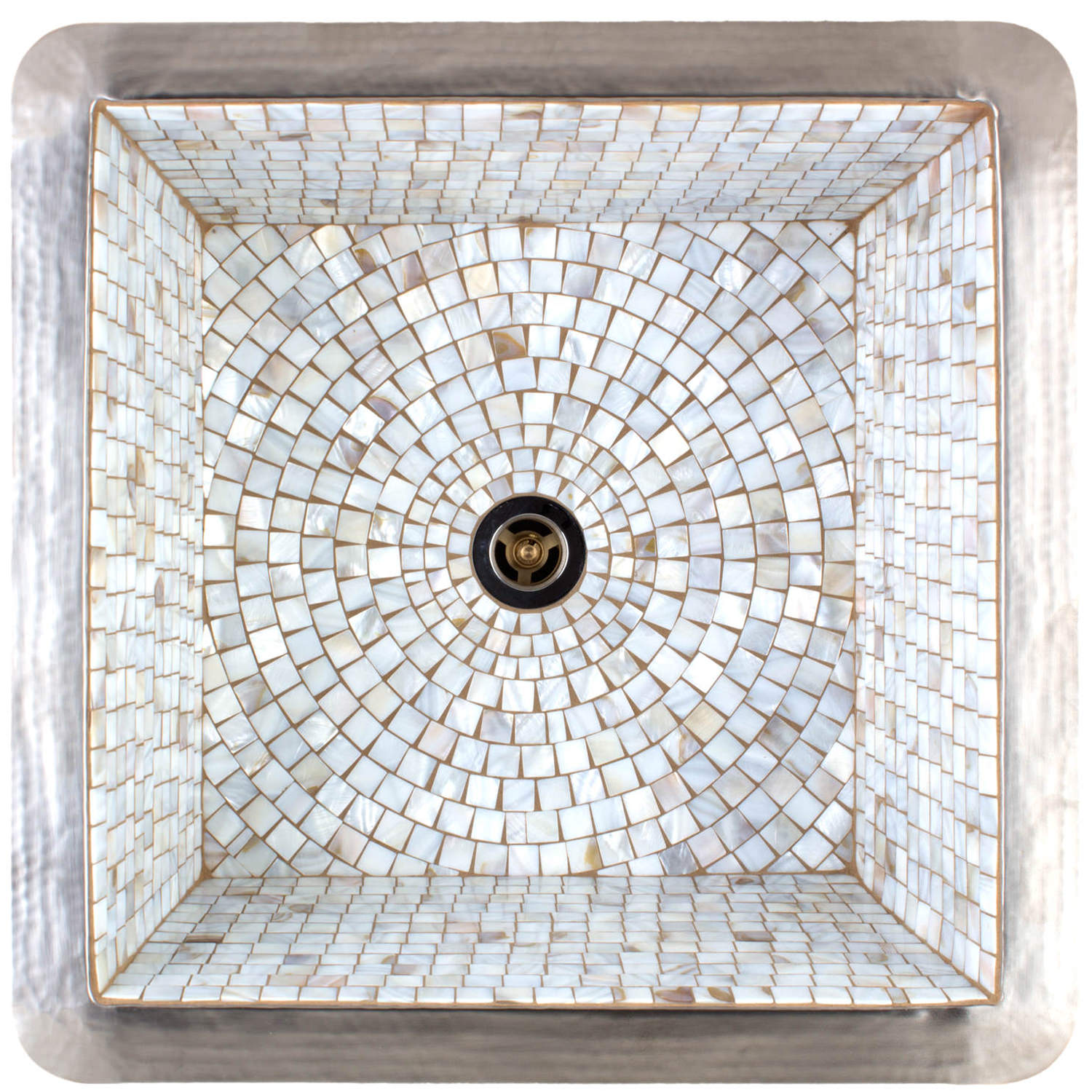 "Linkasink Bar Sinks - V008-MOP Square Copper & Mosaic Tile Sink 16 x 16 x 8 - 1.5 to 3.5"" drain"