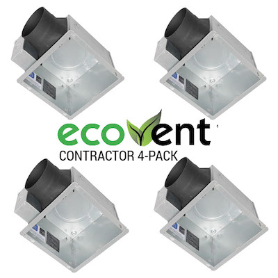 Panasonic Fans - EcoVent - FV-07VBA1 Universal Housing Can, Duct Adaptor & Junction Box - Contractor Pack of 4