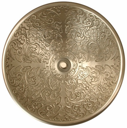 "Linkasink Bathroom Sinks - Bronze - B006-WB Brocade Bowl 17"" - White Bronze"