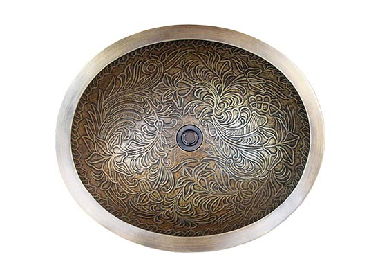 Linkasink Bathroom Sinks - Bronze - B016 Oval Botanical - 4 Finishes