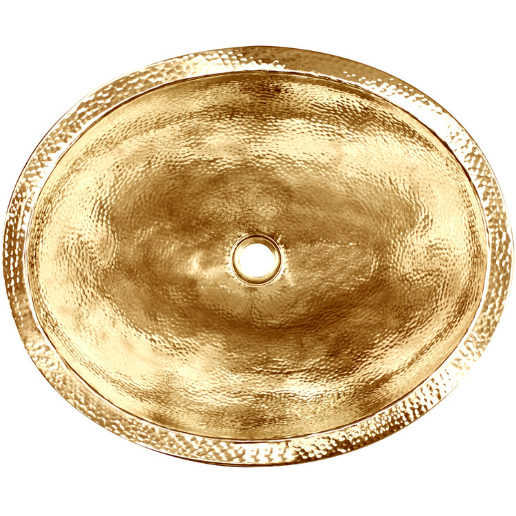 "Linkasink Bathroom Sinks - Builders Series - Brass - BLD103 PB - Oval - 20"" x 16.5"" with 1.5"" Drain Hole - Polished Unlaquered Brass Finish"