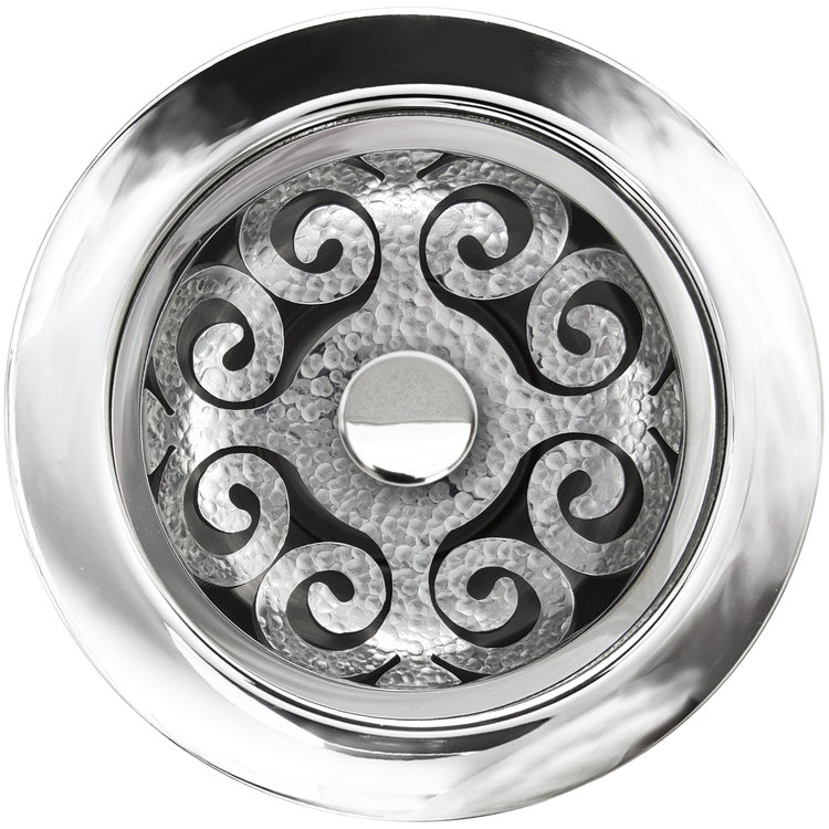 "Linkasink Drain - Kitchen D072 PH Hawaiian Quilt Disposal flange kit 3.5"" Polished Hammered"
