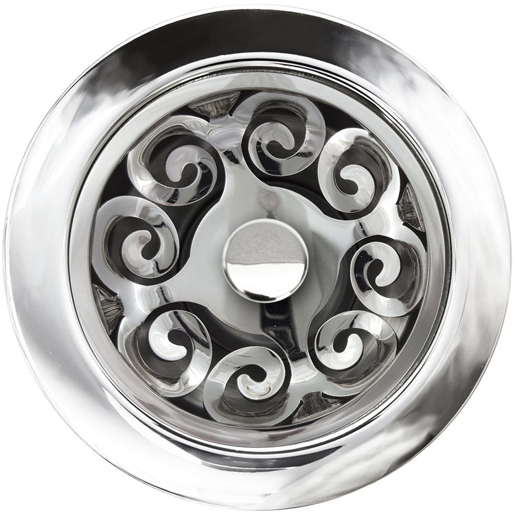 "Linkasink Drain - Kitchen D072 PS Hawaiian Quilt Disposal flange kit 3.5""Polished Smooth"
