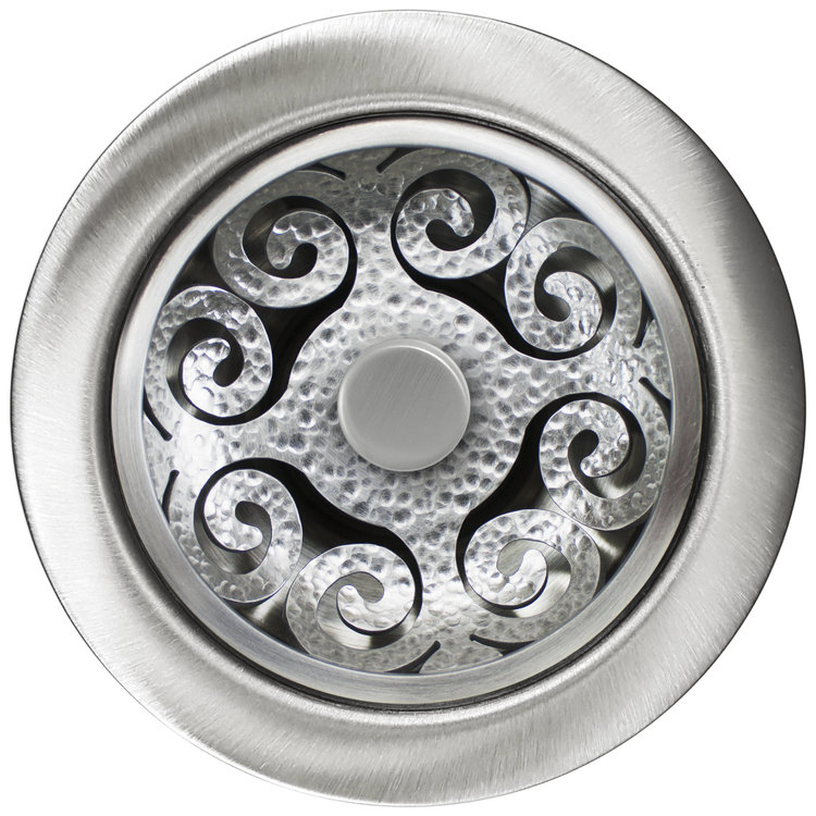 "Linkasink Drain - Kitchen D072 SH Hawaiian Quilt Disposal flange kit 3.5""Satin Hammered"