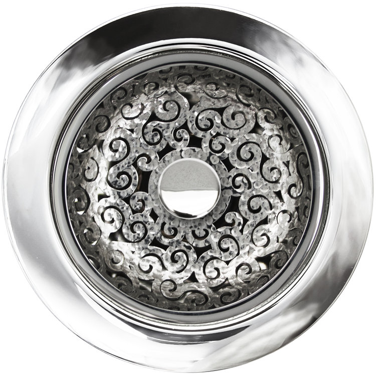 Linkasink Drain - Kitchen D076 PH Swirl Disposal flange kit 3.5 Polished Hammered
