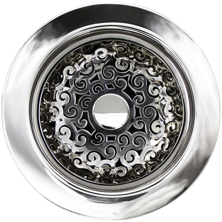 Linkasink Drain - Kitchen D076 PS Swirl Disposal flange kit 3.5 Polished Smooth