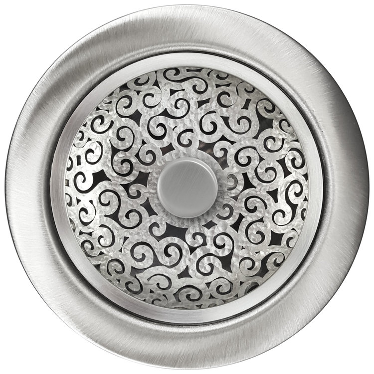 Linkasink Drain - Kitchen D076 SH Swirl Disposal flange kit 3.5 Satin Hammered