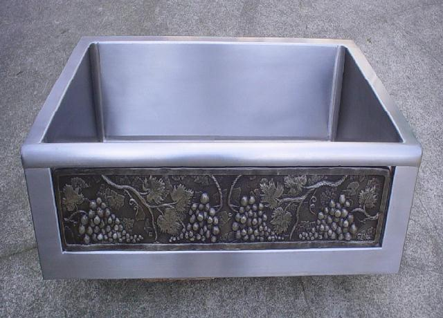 elite bath kitchen sinks farmhouse stainless steel sfs30 chameleon farmhouse kitchen sink includes art panel - Farmhouse Kitchen Sinks