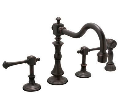 Huntington Brass Kitchen Faucets - Platinum Series K2560303 - Monarch Widespread with Side Spray - Antique Bronze