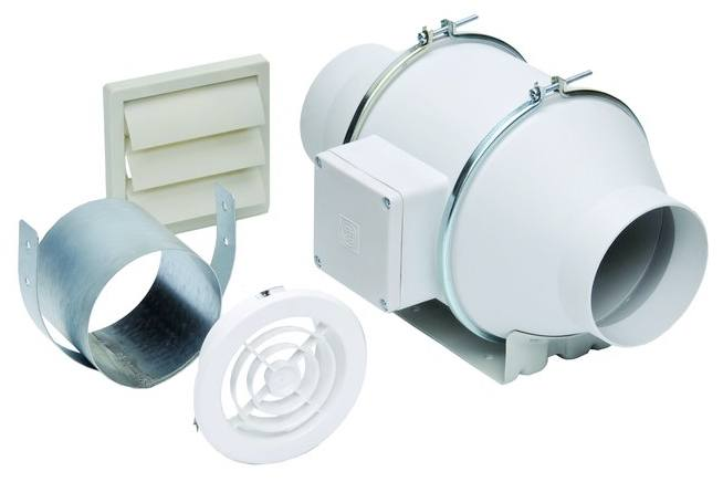 "S&P Soler & Palau Ventilation Fans - KIT-TD100X 4"" Duct Inline Mixed Flow Duct Ventilation Fan Kit - H 135 cfm, L 100 cfm"