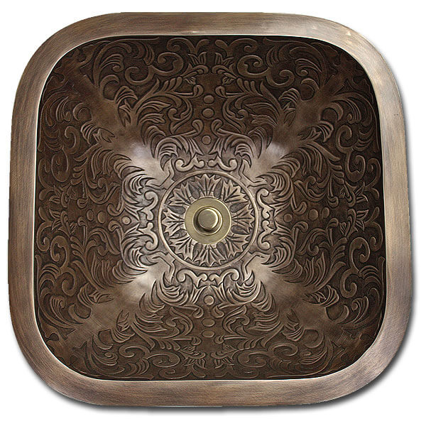 "Linkasink Bathroom Sinks - Bronze - B021 Square Brocade 14"" - 4 Finishes"