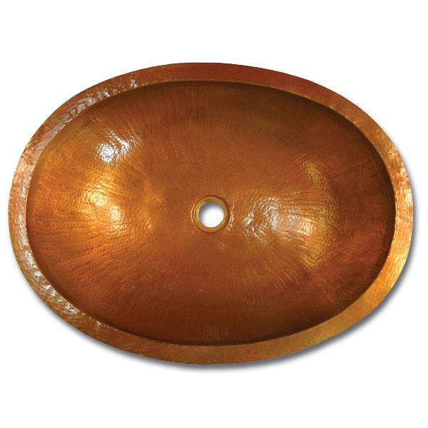 Linkasink Bathroom Sinks - Copper - C023 WC Small Oval Copper Bath Sink - 17.5 x 14 x 7 - Weathered Copper