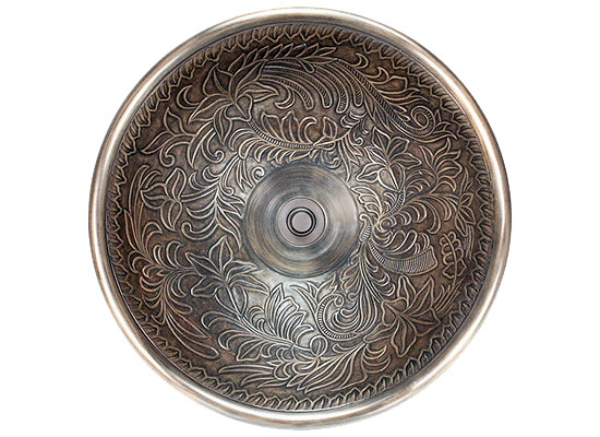 "Linkasink Bathroom Sinks - Bronze - B004-AB Botanical Bowl Large 17"" x 6"" - Antique Bronze"