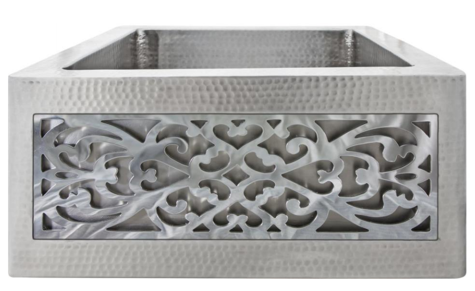 Linkasink Kitchen Farmhouse Sinks - Linkasink C074-1.5-SS Stainless Steel Inset Apron Front Bar Sink - Hammered Finish - No Inset Panel