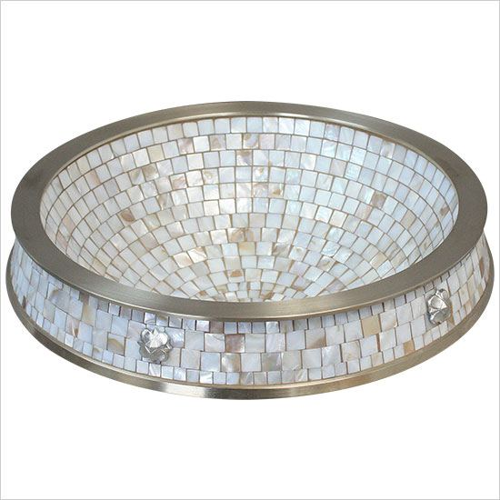 "Linkasink Bathroom Sinks - Mosaic - CM03-WB Semi Recessed Mosaic Sink - 17"" x 3"" Vessel 1.5"" drain"