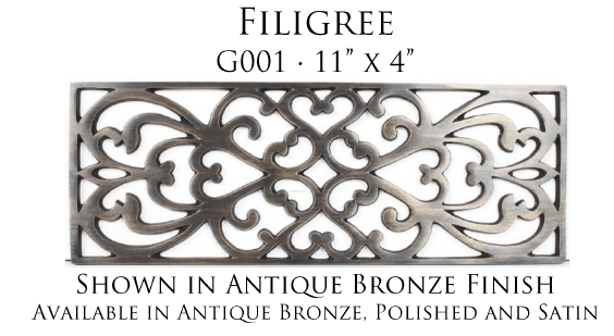 Linkasink Bathroom Sinks - Vintage Jeweler Grate - G001 Filigree Grate for P008 Tiffany Jewelers Sink