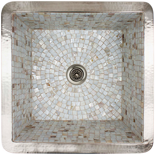 "Linkasink Bar Sinks - Copper - V008 Square Copper & Mosaic Tile Sink 16 x 16 x 8 - 1.5 to 3.5"" drain"