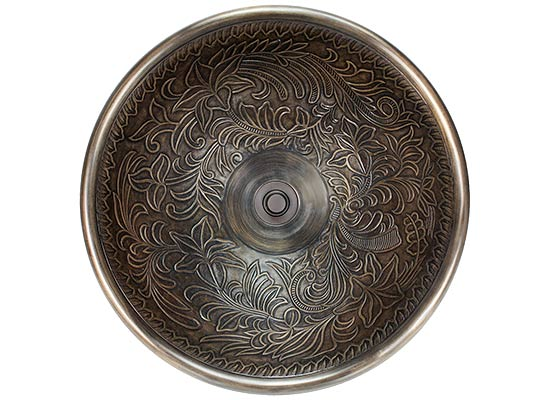 "Linkasink Bathroom Sinks - Bronze - B025 Botanical Bowl Small Round 14"" - 4 Finishes"