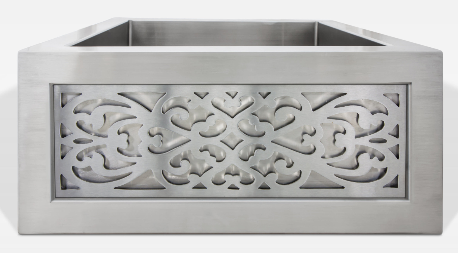 Linkasink Kitchen Farmhouse Sinks - C073-3.5-SS Stainless Steel Inset Apron Front Sink - Smooth Finish PNLS105 Filigree