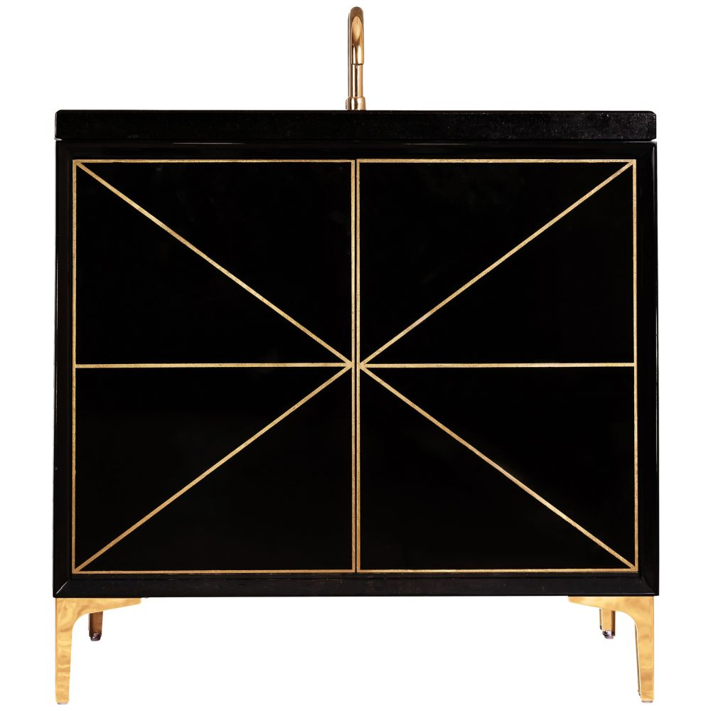 "Linkasink Sink Vanities - VAN36B-002SB - DIVERGENCE 36"" Wide Vanity - Black - Satin Brass Hardware - 36"" x 22"" x 33.5"" (without vanity top)"