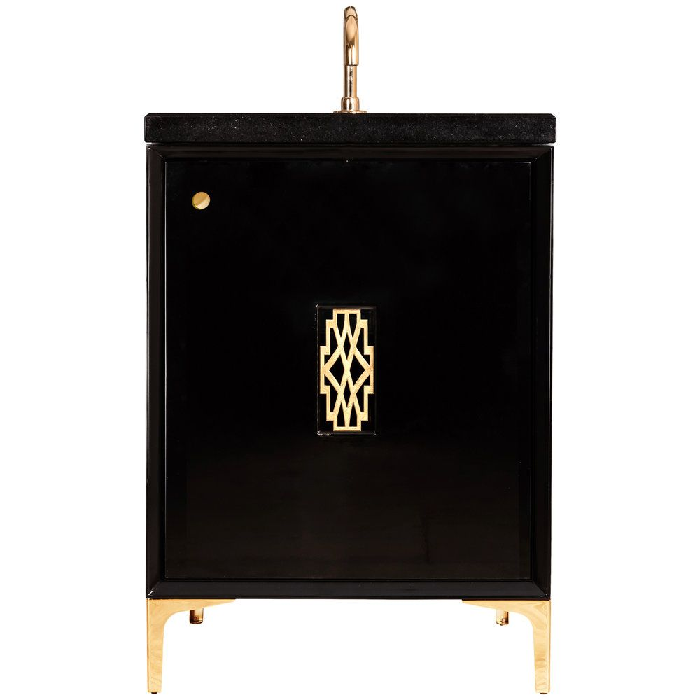 "Linkasink Sink Vanities - VAN24B-011PB - FRAME with Deco Grate 24"" Wide Vanity - Black - Polished Brass Hardware - 24"" x 22"" x 33.5"" (without vanity top)"