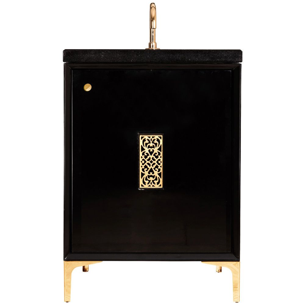 "Linkasink Sink Vanities - VAN24B-012BC - FRAME with Filigree Grate 24"" Wide Vanity - Black - Black Hardware - 24"" x 22"" x 33.5"" (without vanity top)"