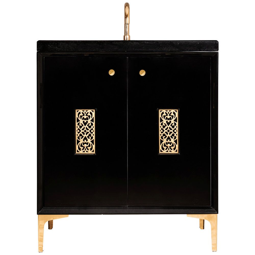 "Linkasink Sink Vanities - VAN30B-012PN - FRAME with Filigree Grate 30"" Wide Vanity - Black - Polished Nickel Hardware - 30"" x 22"" x 33.5"" (without vanity top)"