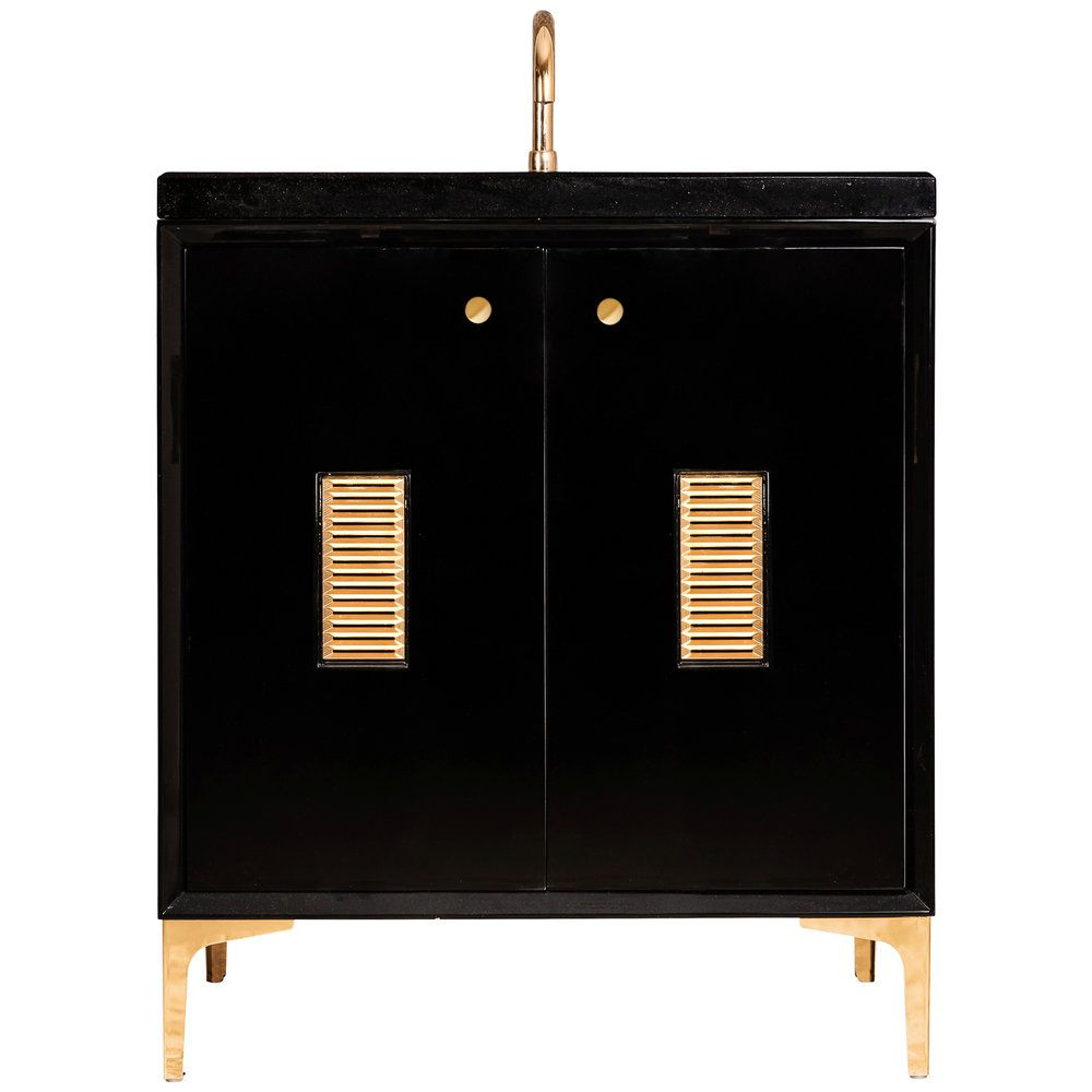 "Linkasink Sink Vanities - VAN30B-013PB - FRAME with Louver Grate 30"" Wide Vanity - Black - Polished Brass Hardware - 30"" x 22"" x 33.5"" (without vanity top)"