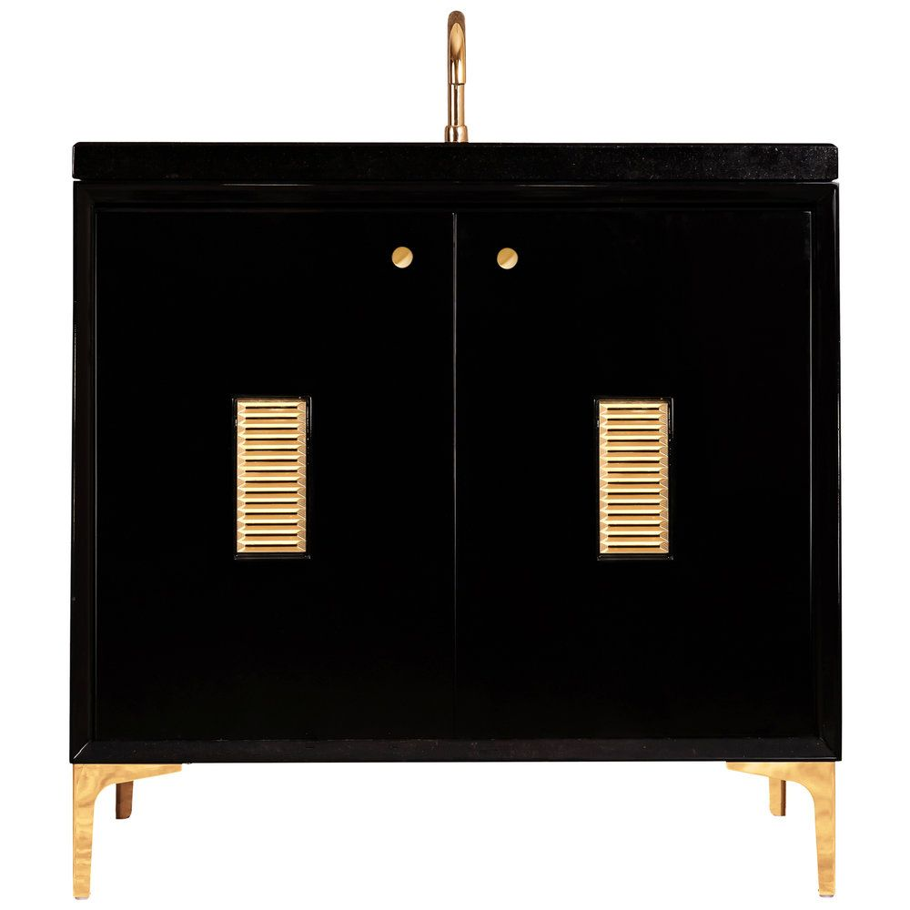 "Linkasink Sink Vanities - VAN36B-013BC - FRAME with Louver Grate 36"" Wide Vanity - Black - Black Hardware - 36"" x 22"" x 33.5"" (without vanity top)"
