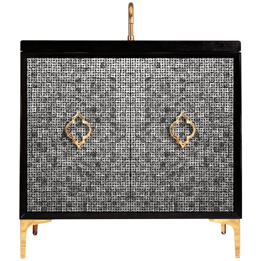 "Linkasink Sink Vanities - VAN36B-006SB - MOTHER OF PEARL with Arabesque Pull 36"" Wide Vanity - Black - Satin Brass Hardware - 36"" x 22"" x 33.5"" (without vanity top)"