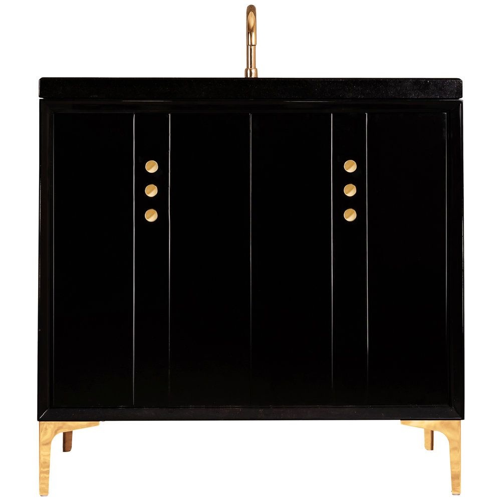 "Linkasink Sink Vanities - VAN36B-009PN - TUXEDO with Buttons 36"" Wide Vanity - Black - Polished Nickel Hardware - 36"" x 22"" x 33.5"" (without vanity top)"