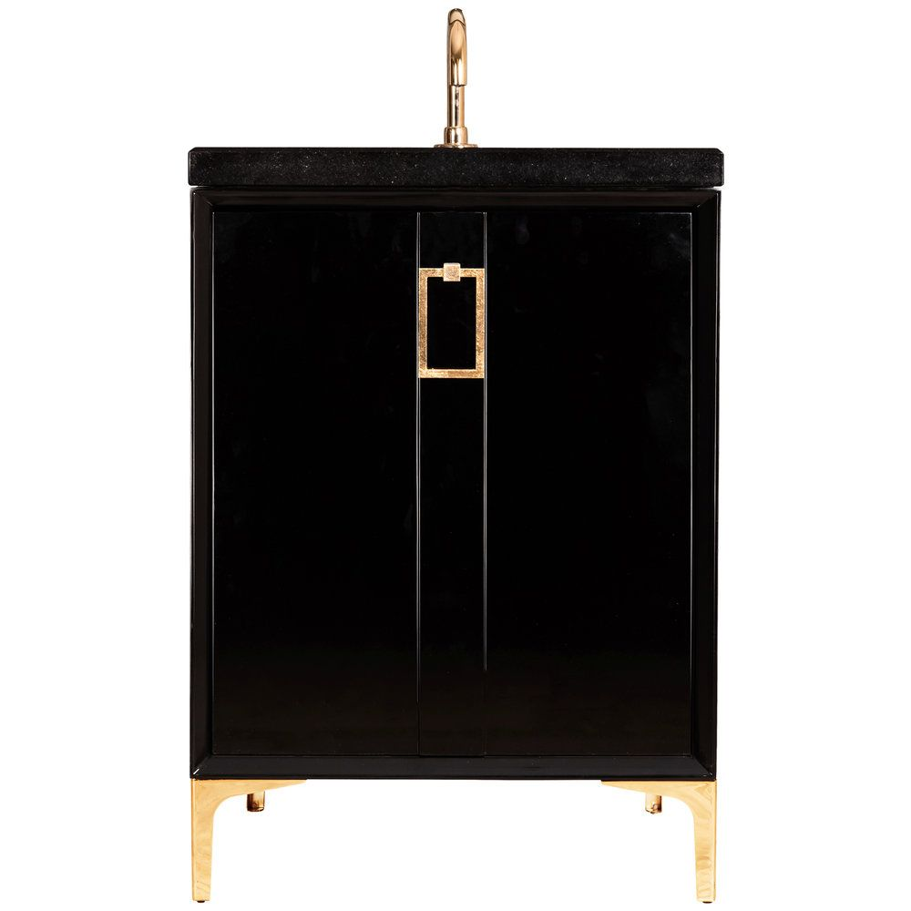 "Linkasink Sink Vanities - VAN24B-008BC - TUXEDO with Coach Pull 24"" Wide Vanity - Black - Black Hardware - 24"" x 22"" x 33.5"" (without vanity top)"