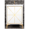 "Linkasink Sink Vanities - VAN24W-002PB - DIVERGENCE 24"" Wide Vanity - White - Polished Brass Hardware - 24"" x 22"" x 33.5"" (without vanity top)"