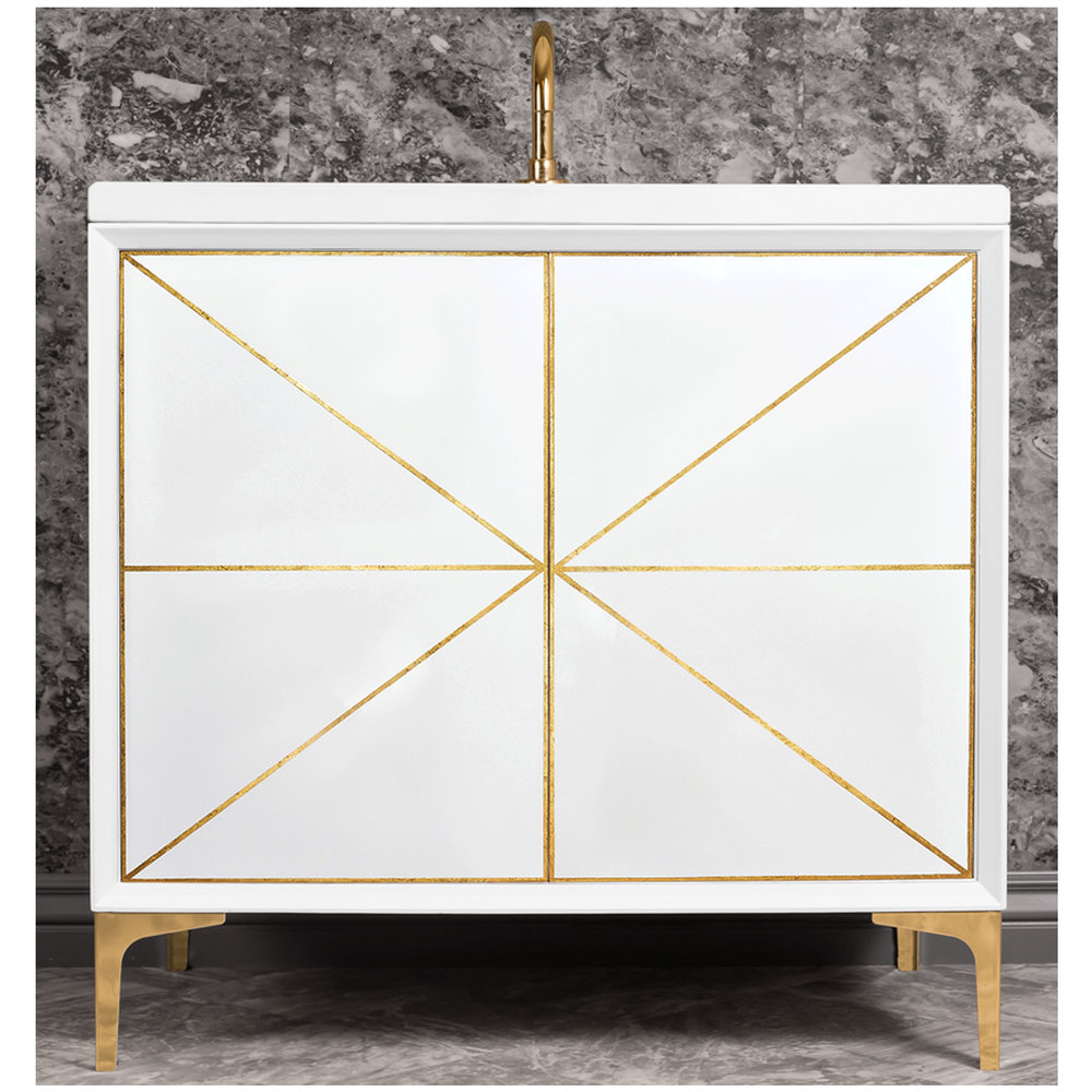"Linkasink Sink Vanities - VAN36W-002PB - DIVERGENCE 36"" Wide Vanity - White - Polished Brass Hardware - 36"" x 22"" x 33.5"" (without vanity top)"