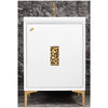 "Linkasink Sink Vanities - VAN24W-010PB - FRAME with Coral Grate 24"" Wide Vanity - White - Polished Brass Hardware - 24"" x 22"" x 33.5"" (without vanity top)"