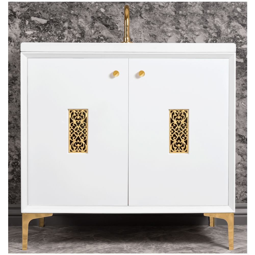 "Linkasink Sink Vanities - VAN36W-012SB - FRAME with Filigree Grate 36"" Wide Vanity - White - Satin Brass Hardware - 36"" x 22"" x 33.5"" (without vanity top)"