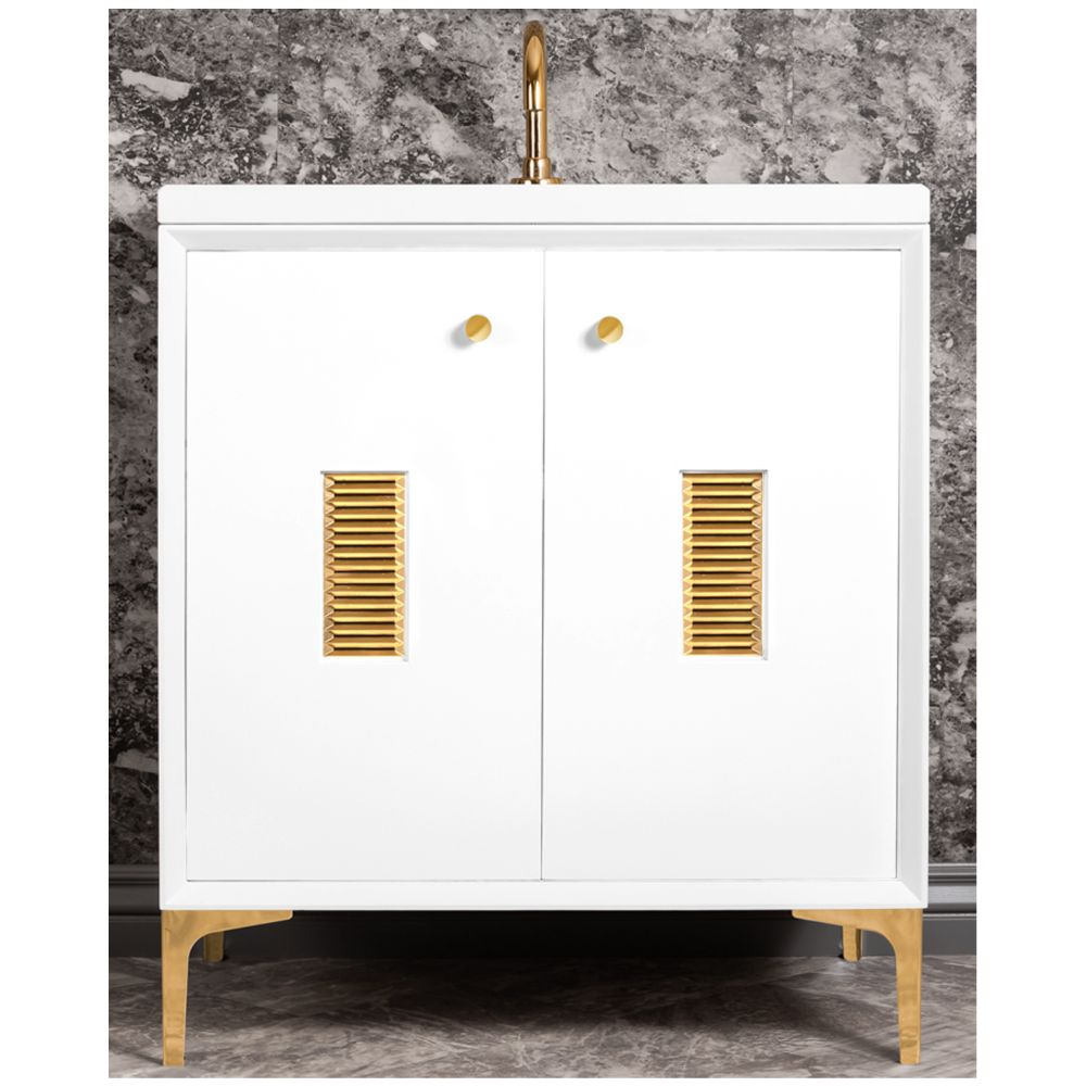 "Linkasink Sink Vanities - VAN30W-013PB - FRAME with Louver Grate 30"" Wide Vanity - White - Polished Brass Hardware - 30"" x 22"" x 33.5"" (without vanity top)"