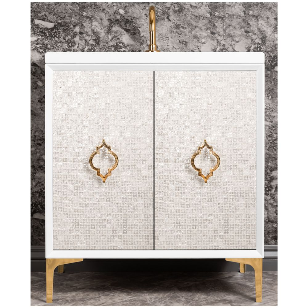 "Linkasink Sink Vanities - VAN30W-004PN - MOTHER OF PEARL with Arabesque Pull 30"" Wide Vanity - White - Polished Nickel Hardware - 30"" x 22"" x 33.5"" (without vanity top)"