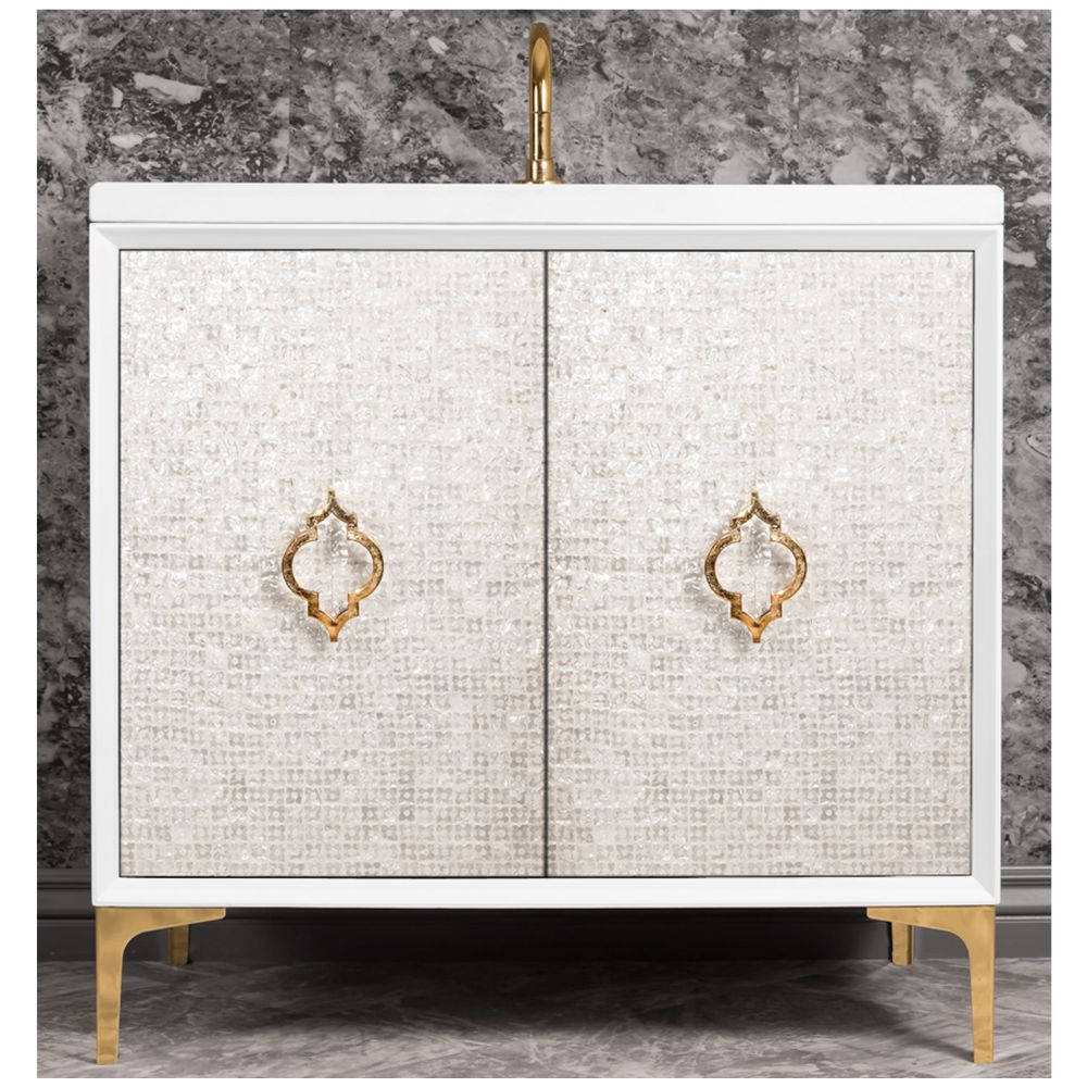 "Linkasink Sink Vanities - VAN36W-004BC - MOTHER OF PEARL with Arabesque Pull 36"" Wide Vanity - White - Black Hardware - 36"" x 22"" x 33.5"" (without vanity top)"