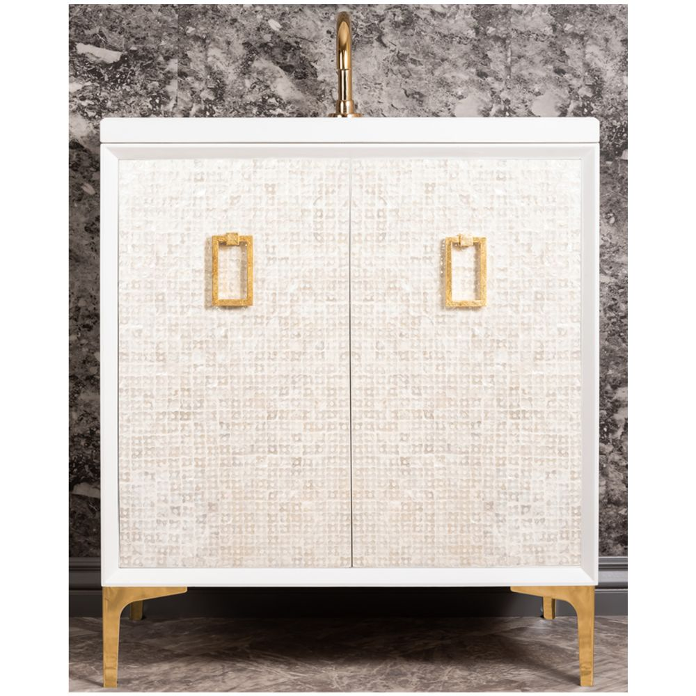 "Linkasink Sink Vanities - VAN30W-005PB - MOTHER OF PEARL with Coach Pull 30"" Wide Vanity - White - Polished Brass Hardware - 30"" x 22"" x 33.5"" (without vanity top)"
