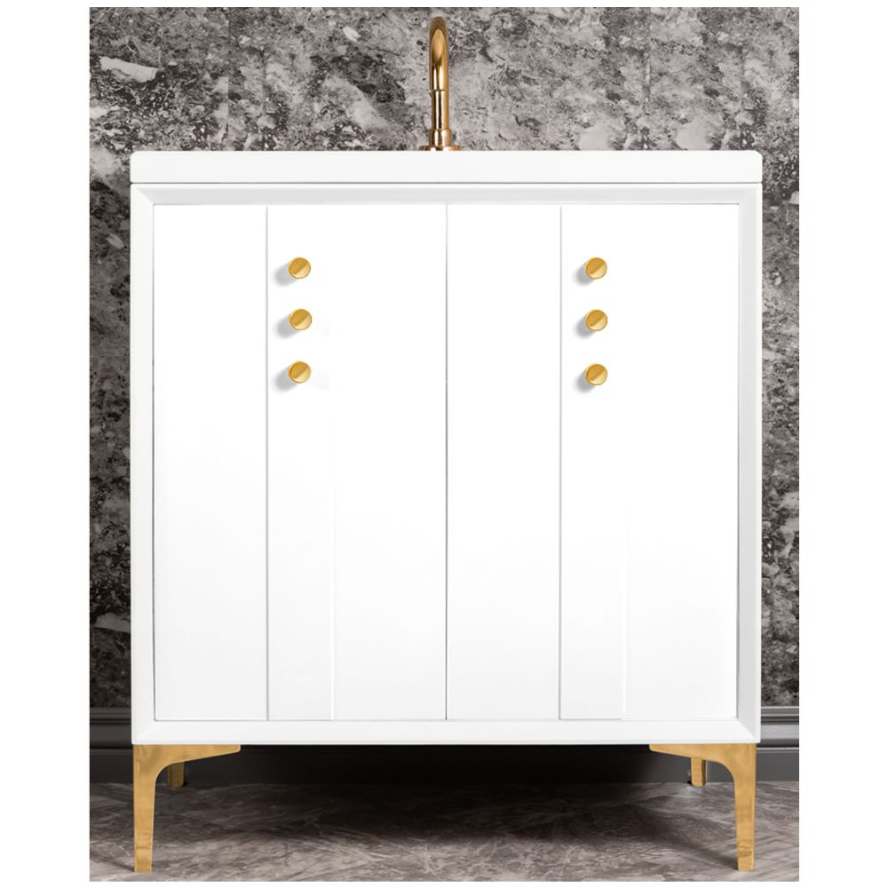 "Linkasink Sink Vanities - VAN30W-009PN - TUXEDO with Buttons 30"" Wide Vanity - White - Polished Nickel Hardware - 30"" x 22"" x 33.5"" (without vanity top)"