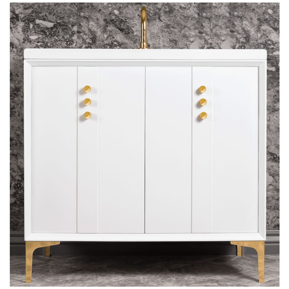 "Linkasink Sink Vanities - VAN36W-009PB - TUXEDO with Buttons 36"" Wide Vanity - White - Polished Brass Hardware - 36"" x 22"" x 33.5"" (without vanity top)"