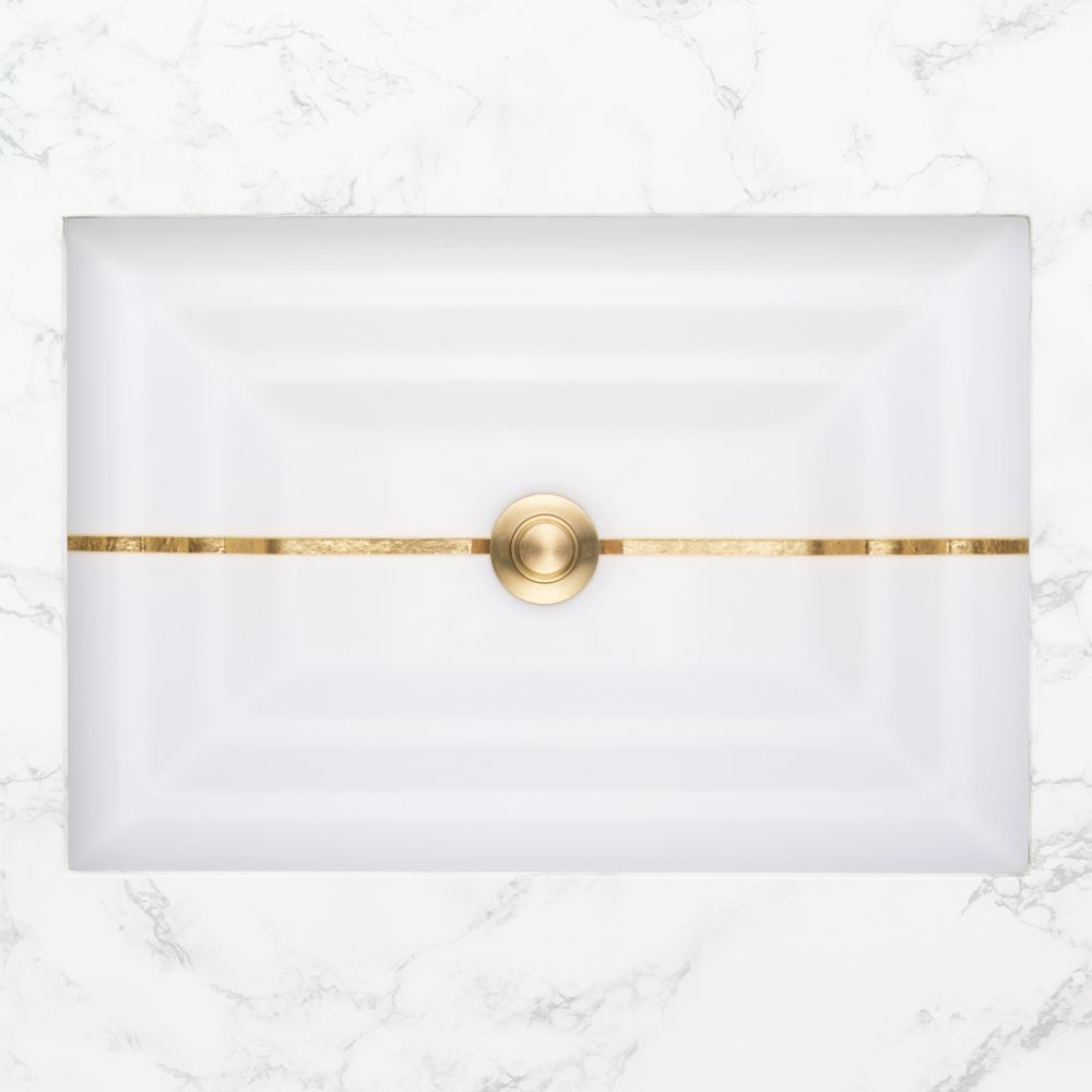 "Linkasink Bathroom Sinks - Artisan Glass - AG01A-01BRS - STRIPE Small Rectangle - White Glass with Brass Accent - Undermount - OD: 18"" x 12"" x 4"" - ID: 15.5"" x 10"" - Drain: 1.5"""