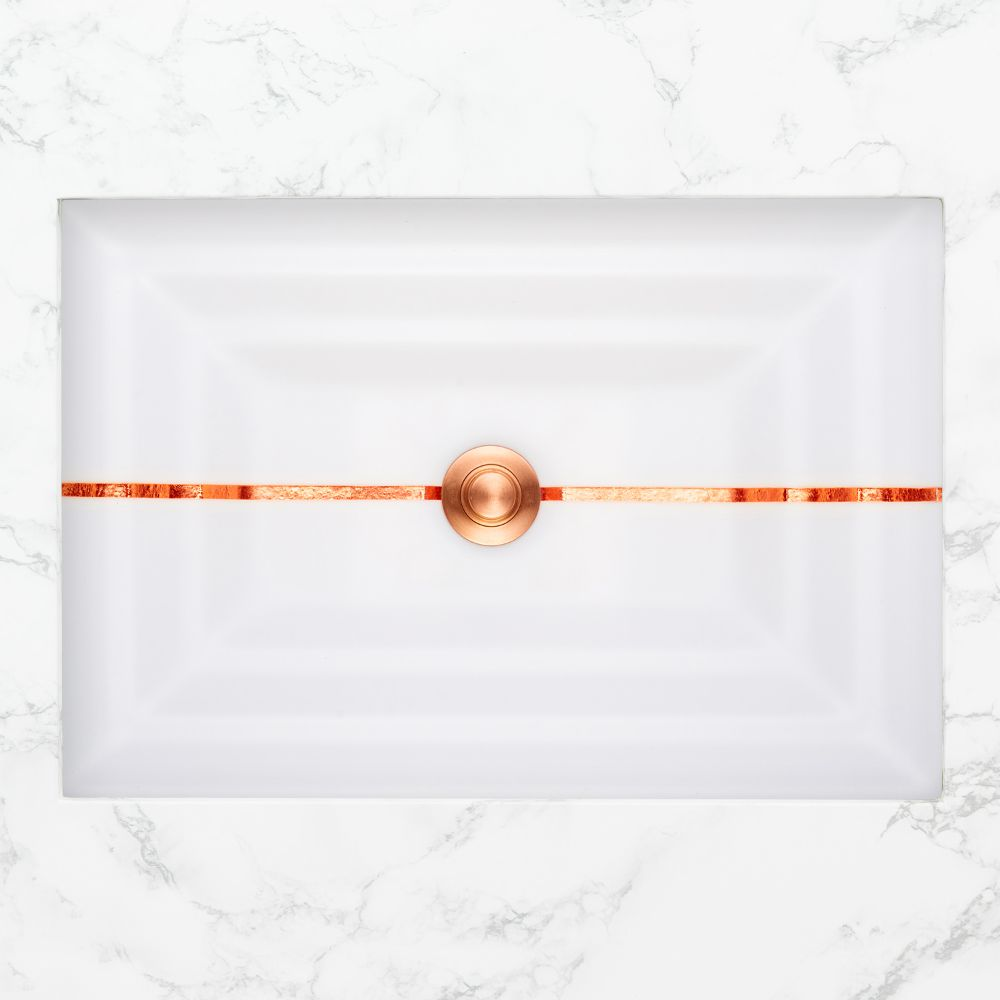 "Linkasink Bathroom Sinks - Artisan Glass - AG01A-01COP - STRIPE Small Rectangle - White Glass with Copper Accent - Undermount - OD: 18"" x 12"" x 4"" - ID: 15.5"" x 10"" - Drain: 1.5"""