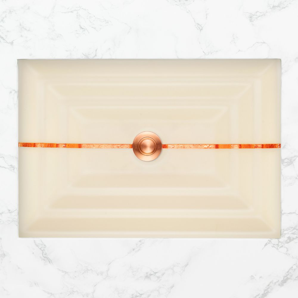 "Linkasink Bathroom Sinks - Artisan Glass - AG01A-02COP - STRIPE Small Rectangle - Cream Glass with Copper Accent - Undermount - OD: 18"" x 12"" x 4"" - ID: 15.5"" x 10"" - Drain: 1.5"""
