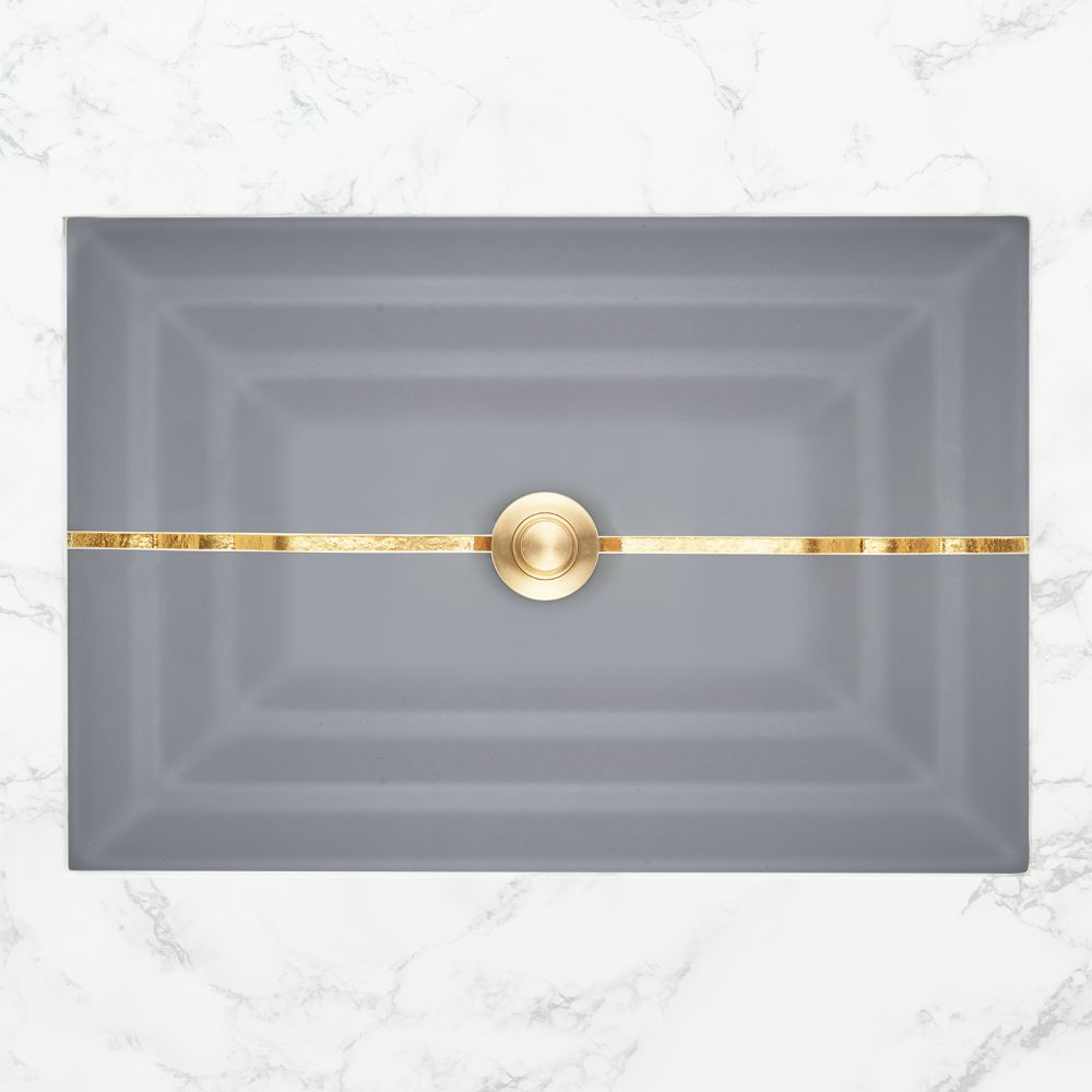 "Linkasink Bathroom Sinks - Artisan Glass - AG01A-03GLD - STRIPE Small Rectangle - Gray Glass with Gold Accent - Undermount - OD: 18"" x 12"" x 4"" - ID: 15.5"" x 10"" - Drain: 1.5"""