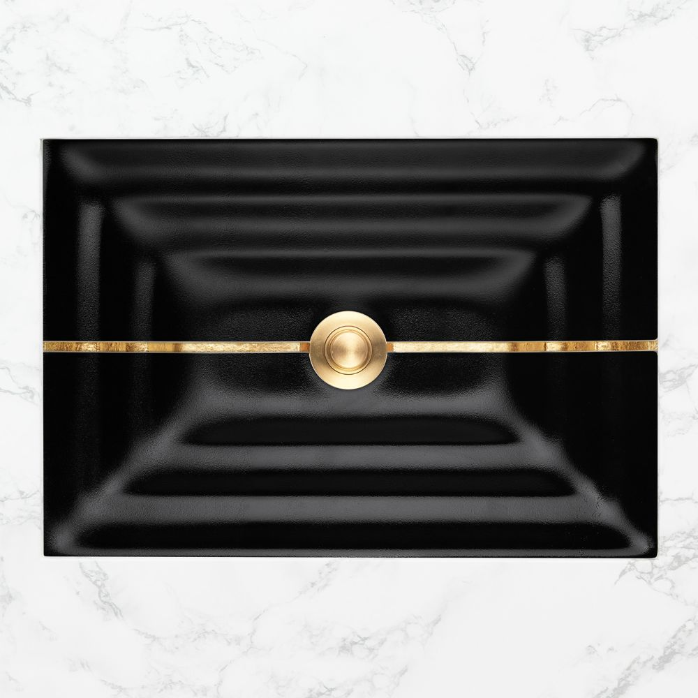 "Linkasink Bathroom Sinks - Artisan Glass - AG01A-04BRS - STRIPE Small Rectangle - Black Glass with Brass Accent - Undermount - OD: 18"" x 12"" x 4"" - ID: 15.5"" x 10"" - Drain: 1.5"""