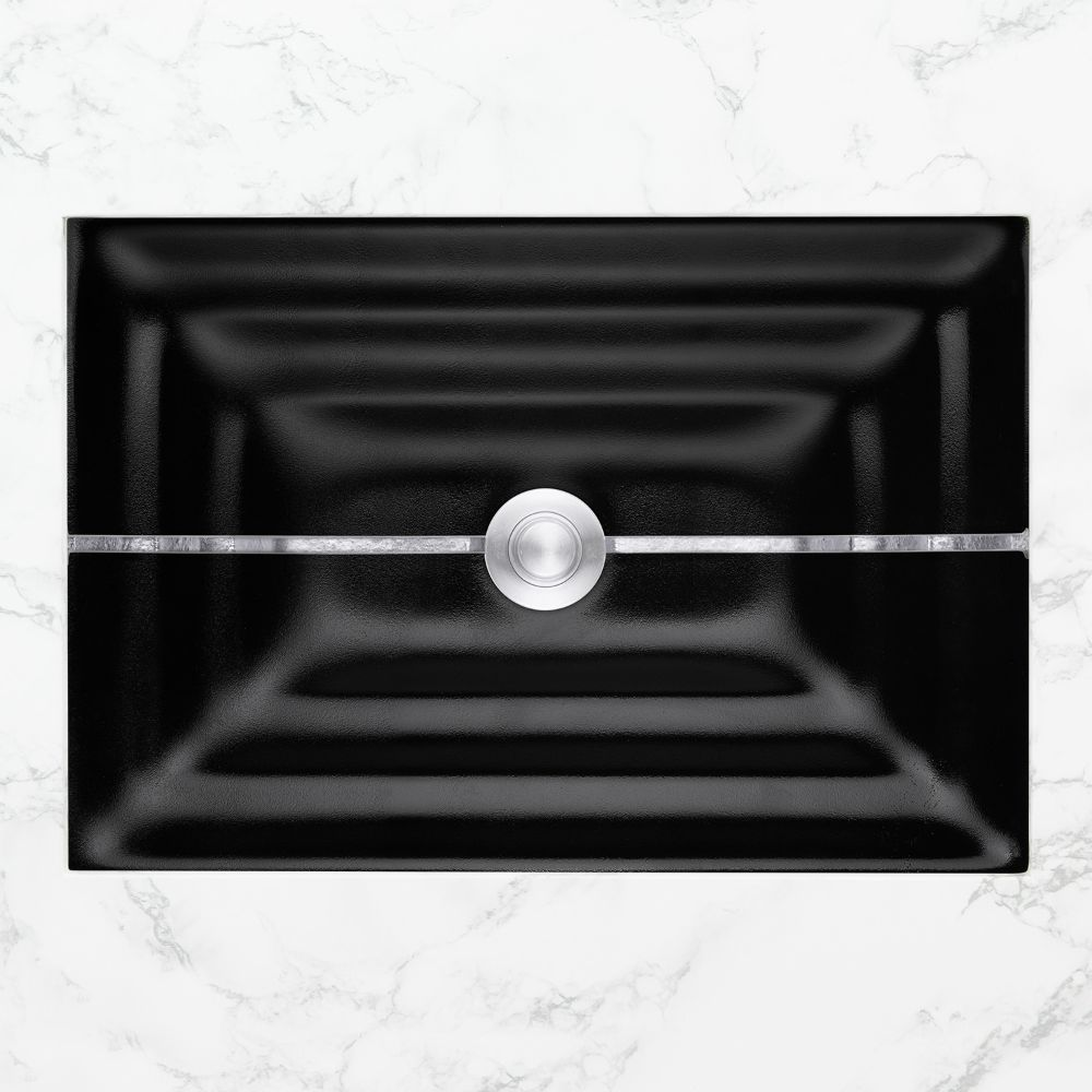 "Linkasink Bathroom Sinks - Artisan Glass - AG01A-04SLV - STRIPE Small Rectangle - Black Glass with Silver Accent - Undermount - OD: 18"" x 12"" x 4"" - ID: 15.5"" x 10"" - Drain: 1.5"""