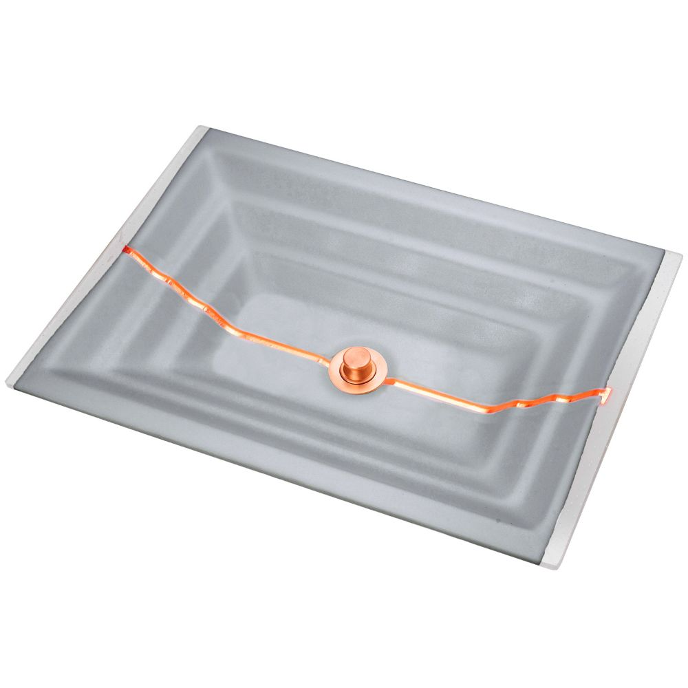 "Linkasink Bathroom Sinks - Artisan Glass - AG01B-03COP - STRIPE Medium Rectangle - Gray Glass with Copper Accent - Undermount - OD: 20"" x 14"" x 4"" - ID: 18"" x 12"" - Drain: 1.5"""